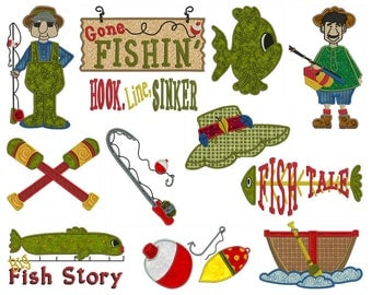 FISHING - Machine Applique Embroidery - Instant Digital Download