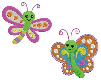 BUTTERFLIES 1 - Machine Filled Embroidery - 2 Patterns in 3 Sizes - Instant Digital Download