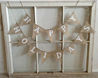 Happy Holidays Banner, Christmas Banner, Farmhouse Christmas, Mini Burlap Banner, Christmas Decoration, Christmas Decor, Happy Holidays