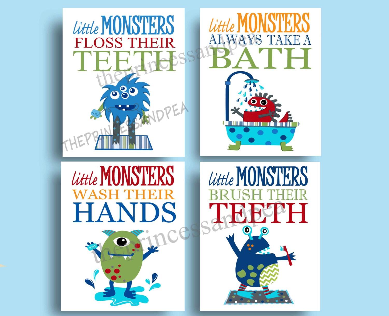 Monster Bathroom art  monster wal art decor  monster rules print   children s art prints  brush wash art prints  set of four 8x10. Monster bathroom   Etsy