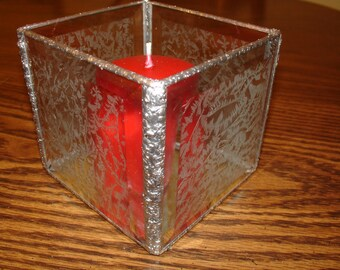 Candle Holder in Etched G;ass Bevels 4 1/2 x 4 5/8 with Mirrored Bottom