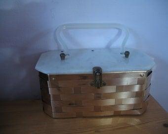 1950's Box Purse, Lucite Weave Handbag