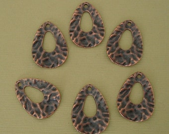 10pcs- Antique Copper Teardrop Pendant Charm Hammered .
