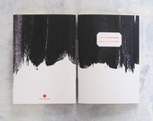 Black brushstrokes notebook - minimal black and white journal 5x7