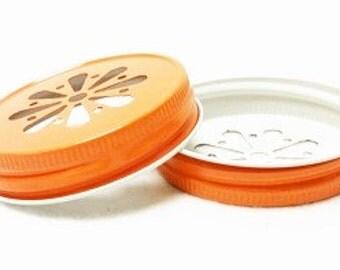 Mason Jar Daisy Lids, Orange Daisy Lids, Daisy Cut Lids, Mason Jar Lids, Rustic Wedding, Baby Shower, Party Supplies, Table Setting, USA