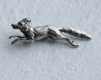 Fox Brooch  .. Woodland Fox with Antique Silver
