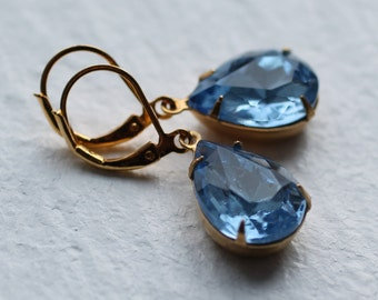 Light Blue Vintage Earrings ... Sapphire Teardrop September Birthstone
