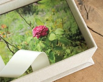 Photo Proof Box for 200 4x6 prints. Custom Order. Shown in Natural Linen and Ivory.