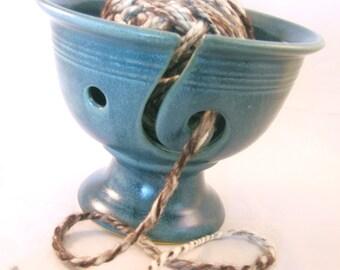 Yarn Bowl Handmade Pottery Tabletop Functional Decor Fibers Yarn Guide Knitting Crocheting - Variegated Teal