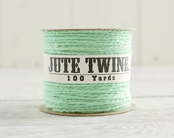 Jute Twine - 100 Yard Spool of Twine, 2-Ply Rustic Craft String, Mint Green