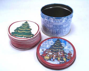 Christmas Carolers Tin with 42 Coasters Vintage 80s