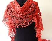 Special VALENTNE Gift  Scarf Shawl Handmade from Vintage Crocheted Doilies HANDMADE By Me in France