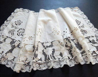 French Cherubs Making Wine Vintage Hand Embroidered Linen Curtain Valence Mantel Dressing