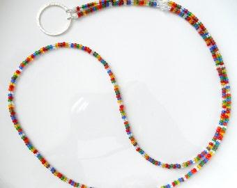 Essential Multicolor Rainbow Eyeglass Lanyard Necklace Glasses Holder - Badge Holder - Beaded Eyewear Accessories - Reading Glasses Necklace