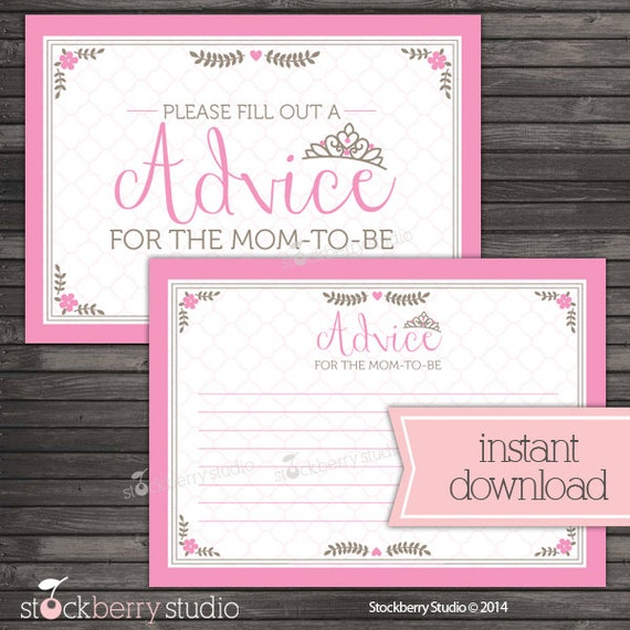 Princess Baby Shower Advice Card For Mom To Be Printable