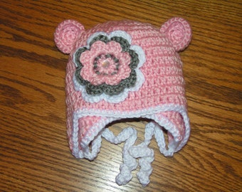 Baby hat for newborn up to 12 month infant bear hat - Jennie with flower