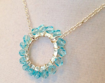 Aquamarine Crystal Silver Wire Wrapped Necklace
