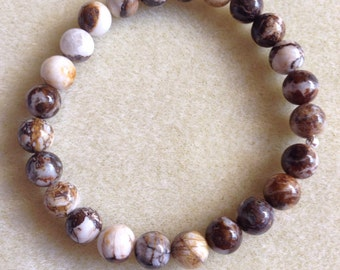 Brioche Jasper 8mm Round Stretch Bead Bracelet with Sterling Silver Accents - Mmm Chocolate Marshmallow and Fudge Sauce on the wrist!