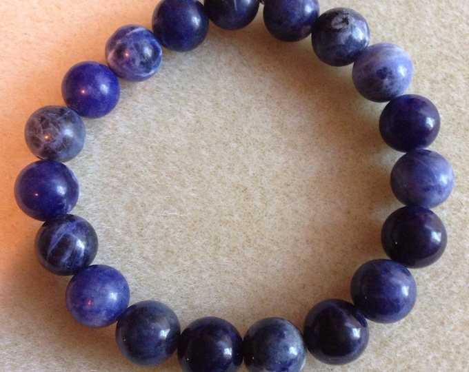 Sodalite A Grade 10mm Round Stretch Bead Bracelet with Sterling Silver Accent