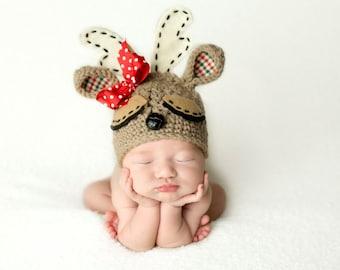 Newborn Crochet Reindeer Christmas Hat Photo Prop!