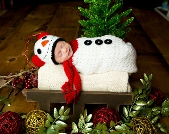 Christmas Snowman Bag and Hat Newborn Photography