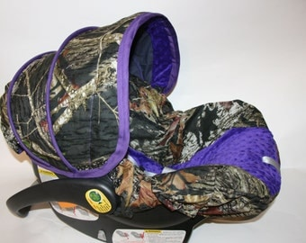 Girls Purple version Mossy Oak Camo Infant  Car Seat Cover - Custom Order Comes with FREE reversible strap Covers