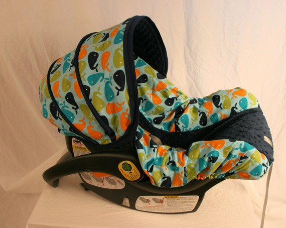 Boy Car seat cover Whales with Navy Minky by BABYCOVERS2010 Custom Baby Boy Car Seat Covers