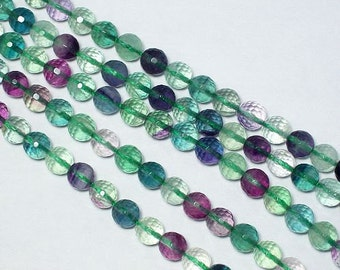 Fluorite 8mm round micro faceted Beads