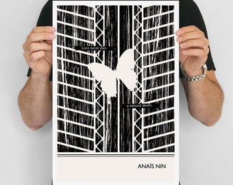 """Literary Art Print, """"Anais Nin """" Large Wall Art Posters, Literary Quote Poster, Illustration, Minimalist Prints, Bookish Gift for Writer"""