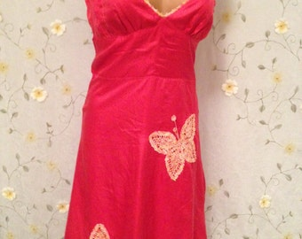 SMALL, Silk Red/Orange Hippie FlowerChild Crotchet Butterflies Dress