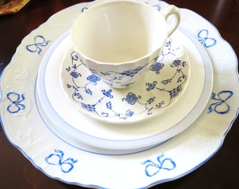Mismatched setting, Dinner Plates, Salad, Teacup and Saucer, blue pattern plates, Myott Finlandia, Vista Alegre