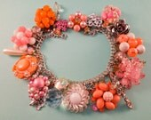 Pink and Peach Dream One of a Kind Repurposed Vintage Jewelry Charm Bracelet