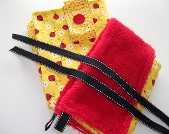 Infant Accessories - Infant Carrier Car Seat Cover and Blanket Set - Red/black Ladybugs on Yellow