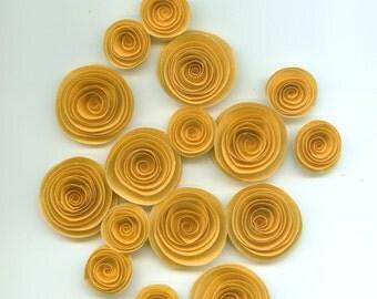 Gold Handmade Spiral Paper Flowers
