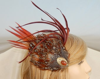 Halloween feather fascinator,Burgandy feather fascinator,Brown feather fascinator,Rust feather fascinator,Thanksgiving feather fascinator
