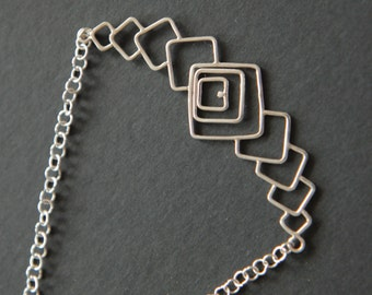 Sterling Silver square Necklace, Silver Chain, Silver Necklace