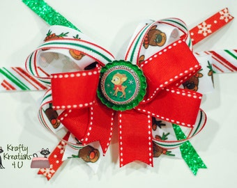 Christmas Colorful Reindeer Hair Bow; Stacked Boutique bow; Handmade bow, Ready to ship! Red, White, Green, Snowflake
