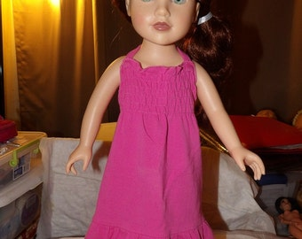 Bright pink knit dress with rousched top and ruffled hemline for 18 inch Dolls - ag246