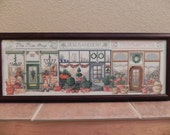 Storefronts Scene Framed Cross Stitched Picture