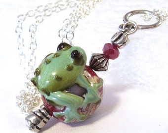 Frog Necklace, Teal Green Necklace, Green Frog Jewelry, Art Glass Pendant, Lampwork Necklace, Glass Bead Pendant