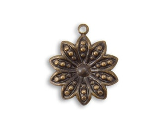 2 pcs Vintaj Natural Brass 19.5x16mm Decennial Flower Charm Pendant Earring Drop Jewelry Findings Craft Supplies Tools