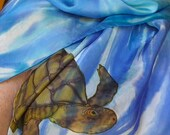 Sea turtles under the surface on a pure silk shawl OOAK