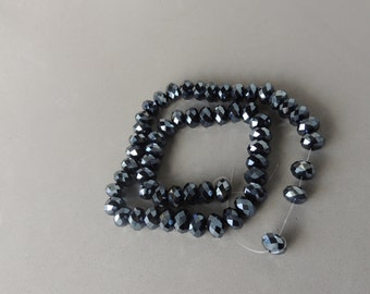 Black Crystals, Faceted Crystals, 10mm Faceted Roundels, Artisan Jewelry