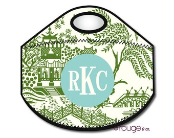 CHINOISERIE monogrammed lunch tote - with customizable pattern and monogram