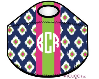 PREPPY IKAT monogrammed lunch tote - with customizable pattern and monogram