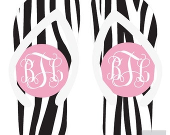 ZEBRA personalized monogram flip flops for adults and kids
