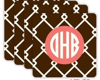LINKED coasters with custom monogram - set of 4