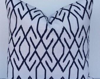 Decorative Lacefield pillow cover-lattice-trellis-geometric-navy blue indigo-linen look-indigo ikat pillow-Designer pillow cover