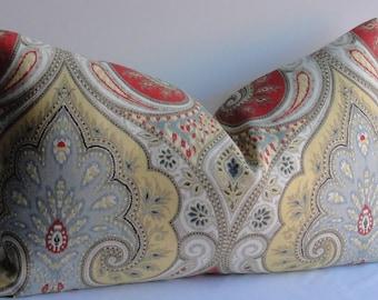Ready to Ship - Latika IKAT Kravet lumbar 12x20 throw Decorative Pillow Cover red blue yellow tan designer linen accent pillow