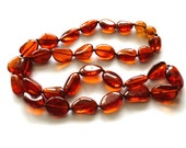 """Baltic Amber Jewelry Cognac Necklace Beaded Natural 18.5"""" 12.6 gram"""